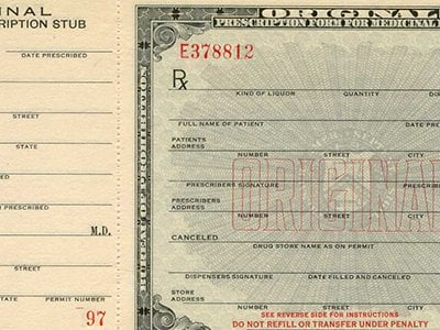 Perscription for alcohol used during Prohibition. (Interactive by Esri; Text by Megan Gambino.)
