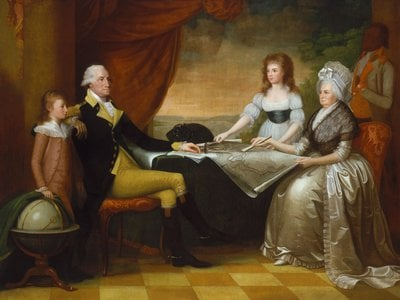 The Washington Family, painted by Edward Savage in New York City while Washington was the nation's president. The children in the portrait are Martha Custis Washington's grandchildren, to whom George was a father figure.
