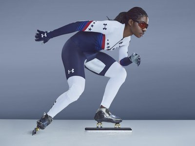 The spandex in Under Armor suits U.S. speedskaters will wear has a slightly gritty texture, which designers claim makes them more aerodynamic by breaking the vacuum that can form around skaters' arms and legs.