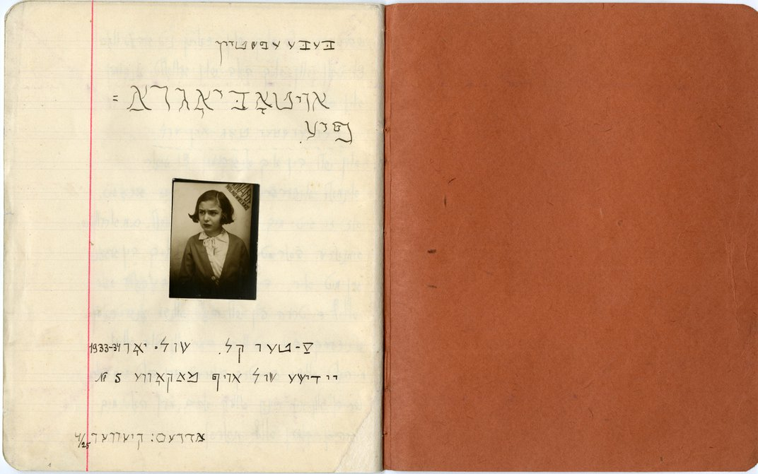brown paper center stitched autobiography of Beba Epstein with a black and white image in the center of a child with chin length hair