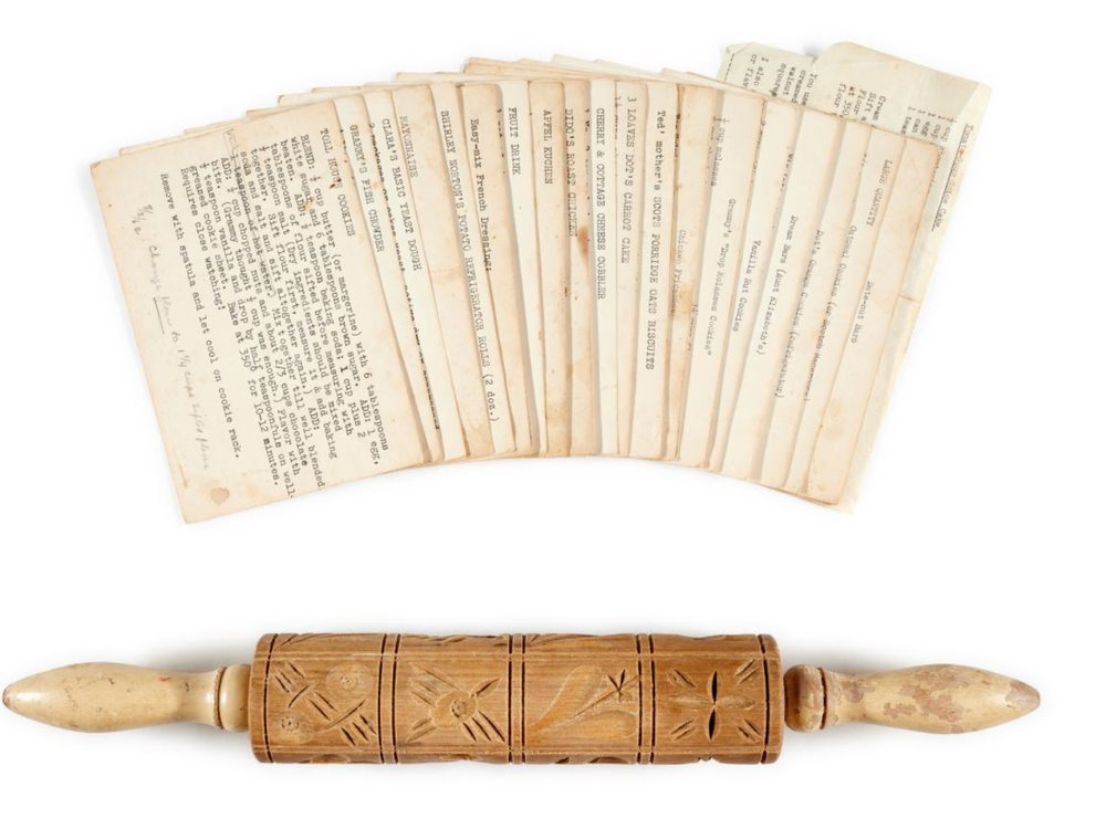 rolling pin and recipe cards