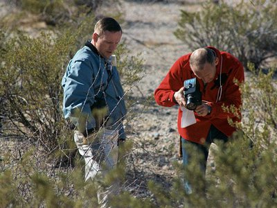 Neil Armstrong (left) and Buzz Aldrin (right) document a sample during a field trip at Sierra Blanca in west Texas on February 24, 1969.