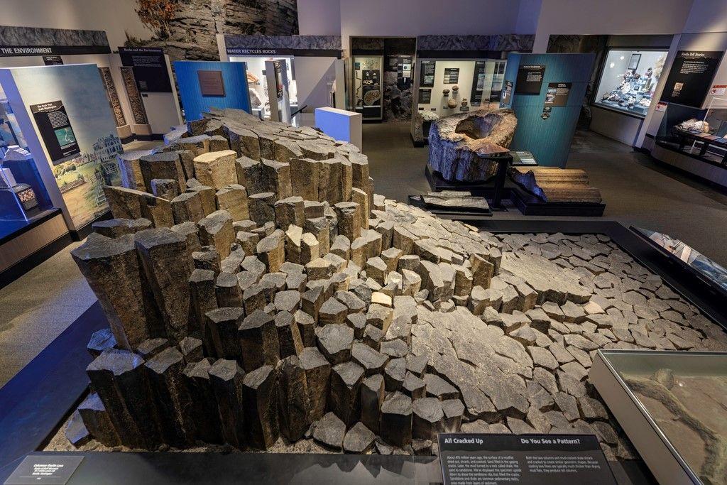 Museum exhibit display of rocks.