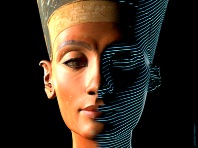 The scan captures every detail that made the bust so iconic, including Nefertiti's delicate neck, painted headdress, high cheekbones and sharp eyeliner.