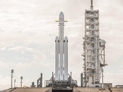 Falcon Heavy awaiting launch at the Kennedy Space Center