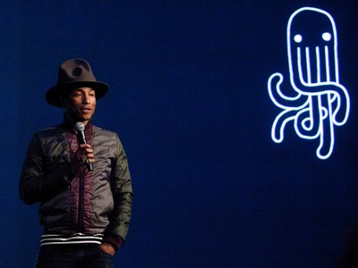 """Singer and plastic-clothing designer Pharrell Williams at the """"Raw For The Oceans"""" event at the American Museum of Natural History in New York City."""