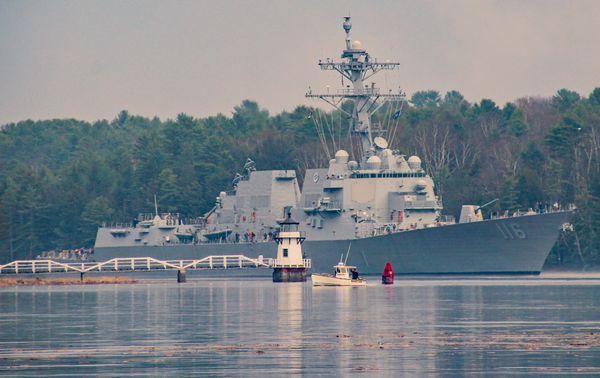 USS Thomas Hudner returning from sea trials thumbnail