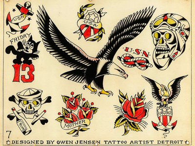 Tattoo flash art by Owen Jensen, courtesy of the Lyle Tuttle Tattoo Art Collection.