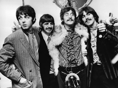 """In May 1967, the Beatles celebrate the completion of their new album, """"Sgt Pepper's Lonely Hearts Club Band."""""""