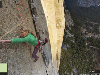 A screenshot of Lynn Hill climbing El Capitan in Street View.