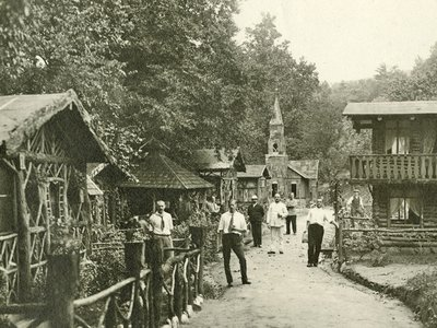 In Hot Springs, North Carolina, residents of an alien internment camp active from 1917 to 1918 built an authentic German village. They used tobacco tins to construct the church at the end of the lane.