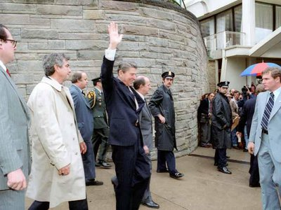 President Ronald Reagan, just moments before he was shot by John Hinckley