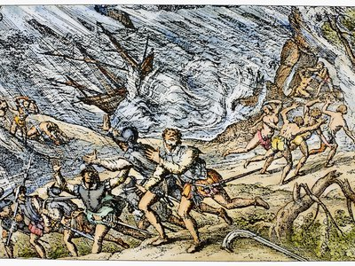 A hurricane in the West Indies. Line engraving, late 16th century.