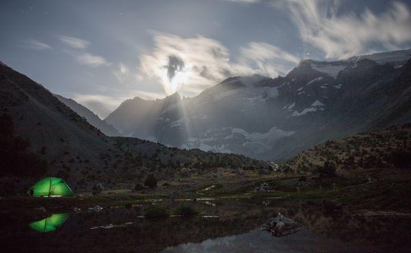 Moonrise over Kulikalon in Tajikistan's Fann Mountains. thumbnail