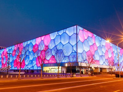The National Aquatics Center is where Michael Phelps earned his eight gold medal during the 2008 Beijing Olympics. Today it's been transformed into the Happy Magic Water Cube, one of Asia's largest waterparks.