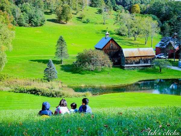 Kids watching beautiful farm barn thumbnail