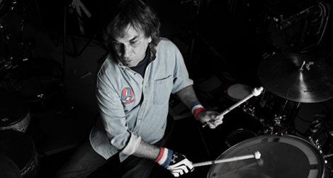 Former Grateful Dead percussionist Mickey Hart on the drum kit