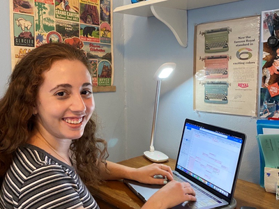 As a virtual intern with the National Museum of American History, Samara Angel, works on coordinating a meeting for her professional learning projects in Experience Design. (National Museum of American History)