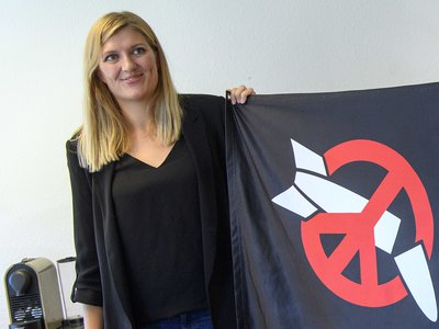 Beatrice Fihn, Executive Director of the International Campaign to Abolish Nuclear Weapons (ICAN), poses at the headquarters of the International Campaign to Abolish Nuclear Weapons (ICAN), in Geneva, Switzerland.