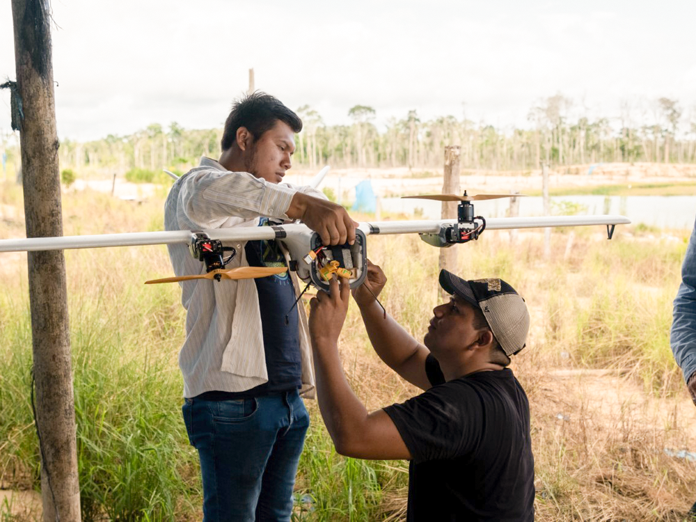 In the Peruvian Amazon, drones like this one are being used to monitor and prevent future destruction of the rainforest from artisanal gold mining. Photo by Guy Loftus for Conservation X Labs.