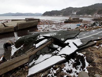 Destroyed sea walls in Otsuchi, Japan, in March 2011