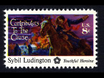 The Sybil Ludington commemorative stamp was issued by USPS in 1975.
