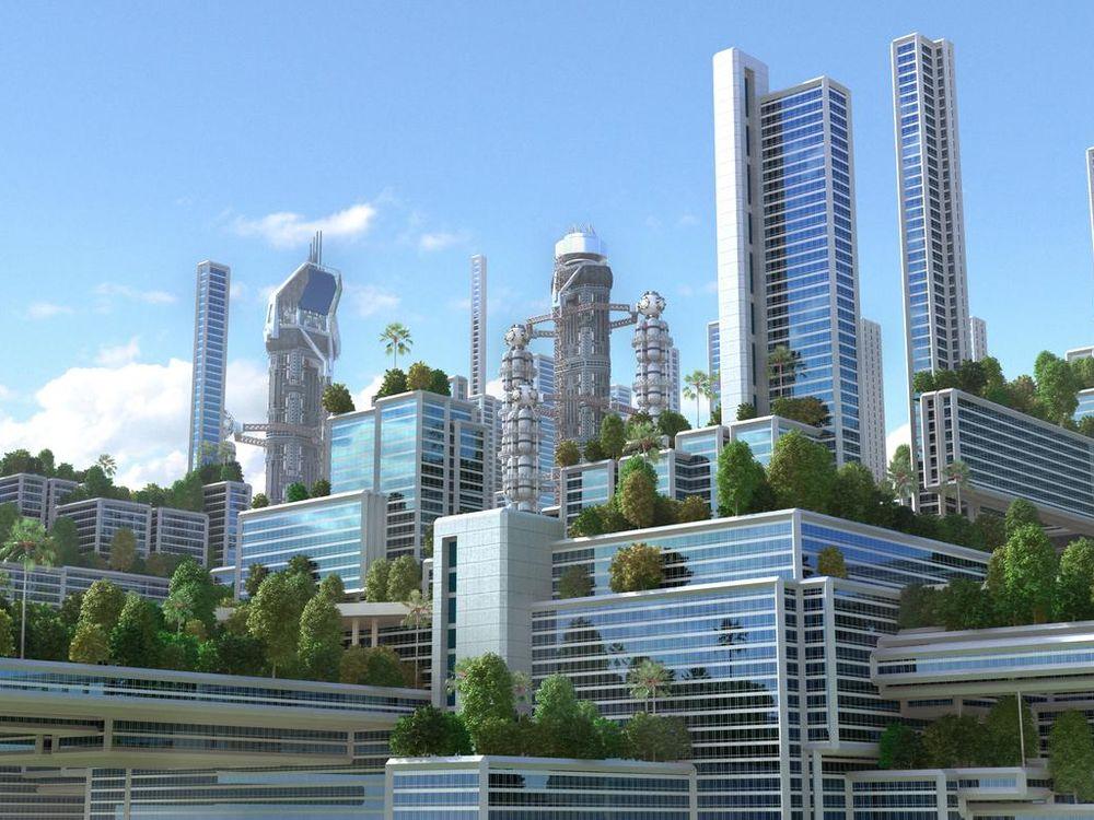 3D futuristic green city.