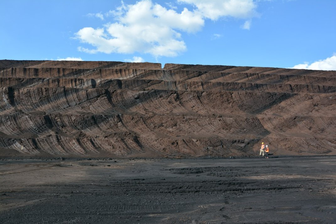 Layers of coal on a clear day