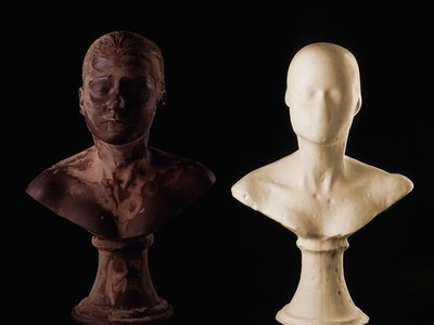 Lick and Lather, 1993, two self-portrait busts: one chocolate and one soap is currently on view at the Hirshhorn Museum and Sculpture Garden.