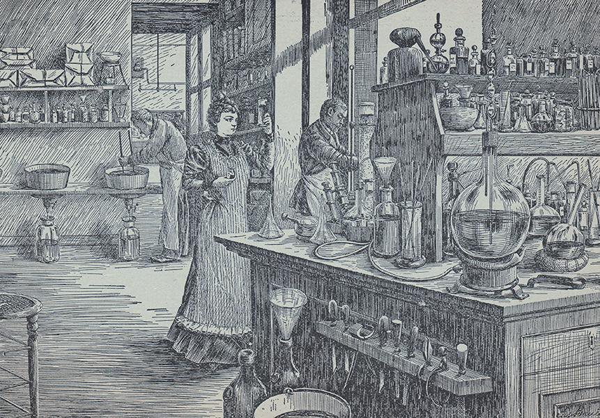 A sketch of Madam Yale in her laboratory.