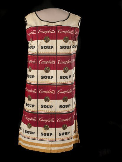 Shift dress with red and white Cambell's soup can print