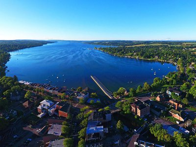 An aerial view of Skaneateles, New York