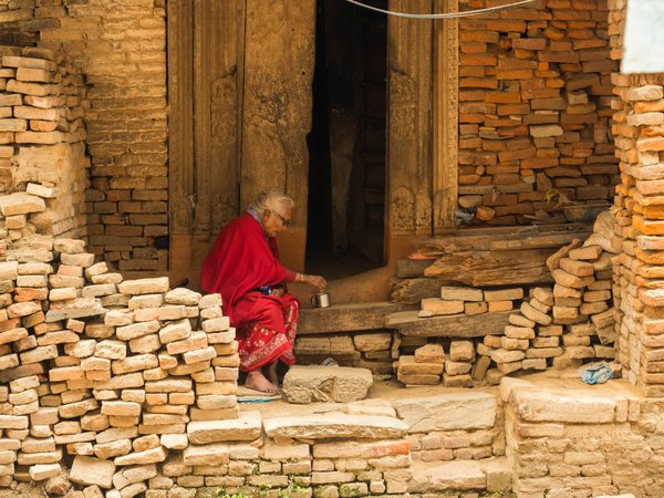 The old women in the ancient city Bhaktapur thumbnail