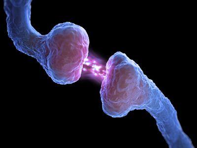 Conceptual close up image of a synapse.