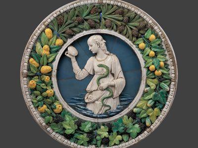 """Prudence"" (before conservation) Andrea della Robbia (Italian (Florentine), 1435–1525) Ca. 1475 Glazed terracotta Lent by the Metropolitan Museum of Art, Purchase, Joseph Pulitzer Bequest, 1921"