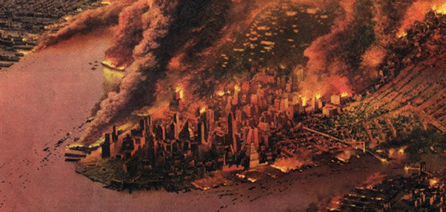 1950 depiction of a smoldering New York after a nuclear attack