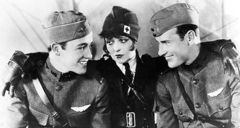 L-R: Charles Rogers, Clara Bow, Richard Arlen in Wings