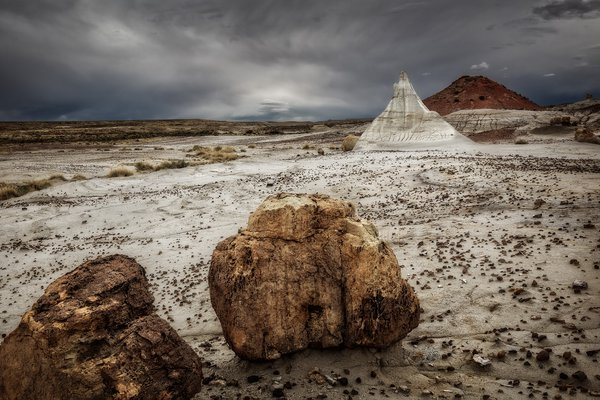 Afternoon storms brew over the Chuska Mountains in the New Mexico Badlands thumbnail