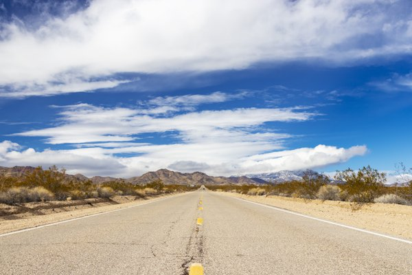 A Long Straight Road in the Mojave Desert thumbnail