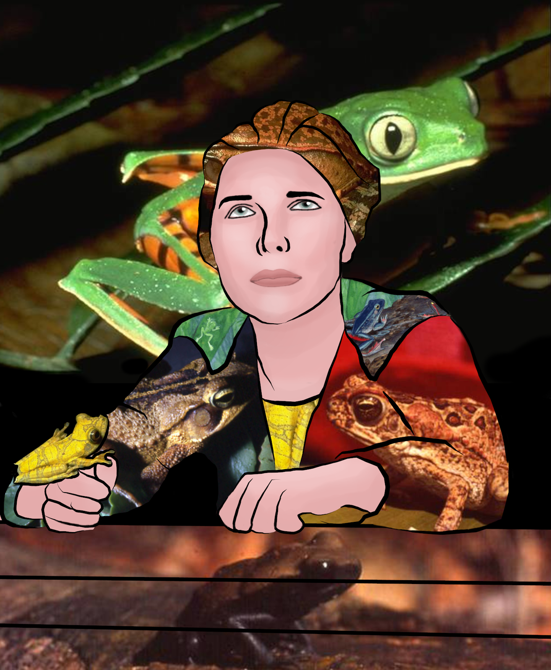 Doris Corchan overlaid with frogs