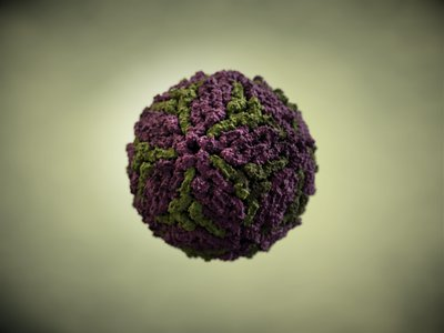 An illustration of the dengue virus, which is transmitted by mosquito bites.