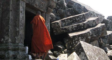 A Buddhist monk at Preah Vihear