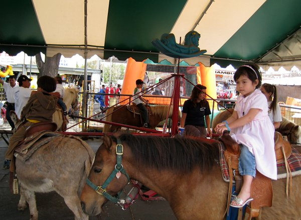 A girl on merry-go-round with real horses at the flea market in San Jose, California. thumbnail