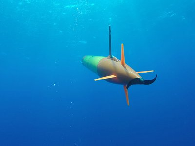 A long-range autonomous underwater vehicle carrying an environmental sample processor cruises beneath the surface during field trials in Hawaii.