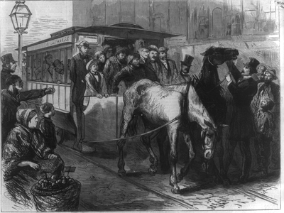 Henry Bergh (in top hat) stopping an overcrowded horsecar, from Harper's Weekly, Sept. 21, 1872.