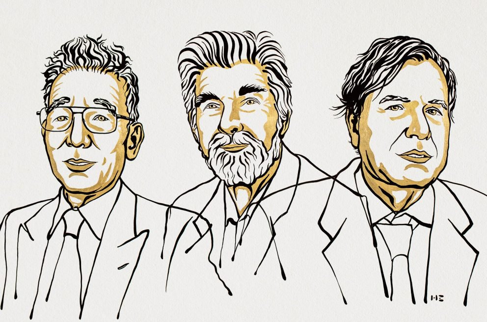 A black and yellow line drawing illustration of the three winners