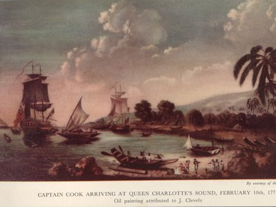 A print from an oil painting attributed to J Clevely, showing Captain James Cook arriving at Queen Charlotte's Sound in New Zealand.