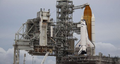 The space shuttle Atlantis, ready for liftoff.