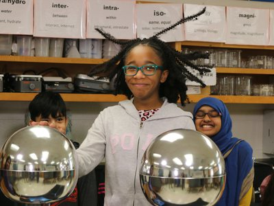 Moments that highlight the joy and excitement of scientific inquiry—such as this student using a Van de Graaff generator—can spark interest in a STEM-related career. Here are some career-focused resources that can supplement that interest. (National Air and Space Museum)