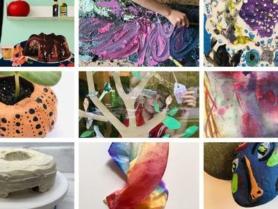"""A sampling of the creative projects inspired by artworks and artmaking techniques found within the Hirshhorn's collections, available from the """"Hirshhorn Kids at Home"""" series."""